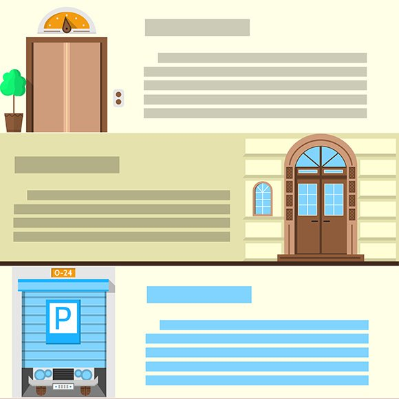 Entrance flat vector icons. Part 1 - Icons