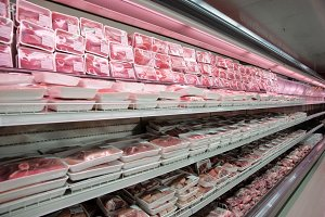 Fully loaded shelves with meat