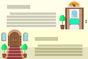 Entrance flat vector icons. Part 3