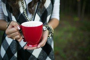 Fashionable Woman Holding Mug