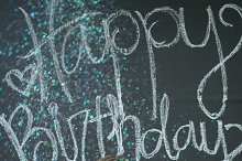 Happy Birthday Chalkboard and Woman