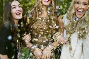 Women Celebrating with Confetti