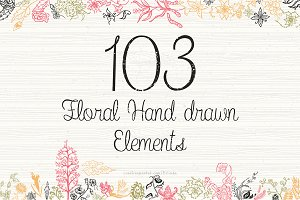 103 Floral Hand Drawn Elements