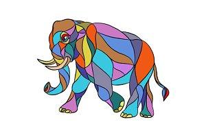 Angry Elephant Walking Mosaic