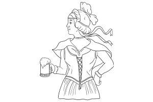German Barmaid Serving Beer Drawing