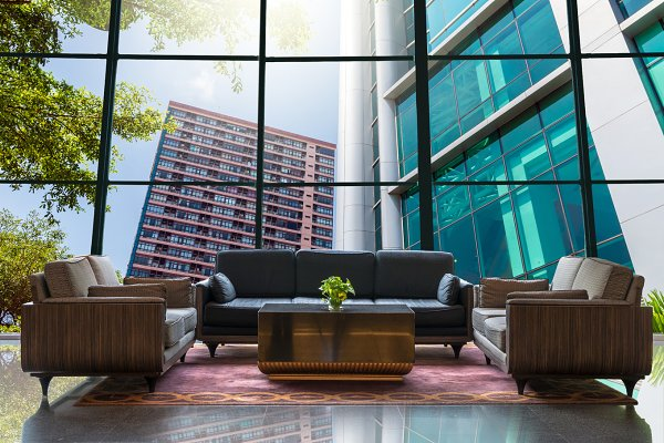 Lobby area with modern building