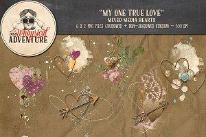 Mixed Media Heart - My One True Love