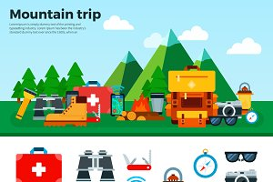 Mountain trip. Travel Concept