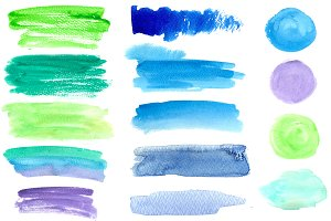 Watercolor banners and splotches