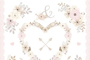 Vector shabby chic floral clip arts