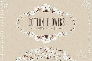 NEW! Cotton flowers watercolor
