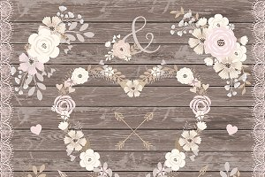Vector rustic flower elements
