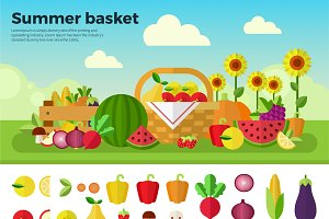 Basket full of fruits and vegetables