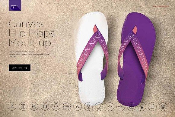 508977f46 Canvas Flip Flops Mock-up ~ Product Mockups ~ Creative Market
