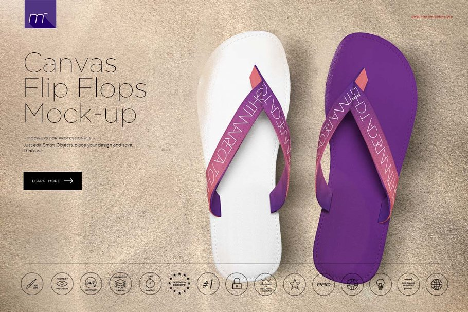 90e97c45f Canvas Flip Flops Mock-up ~ Product Mockups ~ Creative Market