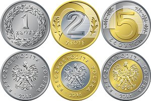 Set polish coins: 1, 2 and 5 zloty