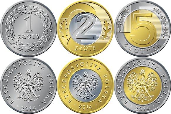 Set Polish Coins 1 2 And 5 Zloty