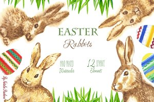 Clipart with Easter Rabbits