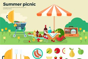 Summer Picnic on Meadow