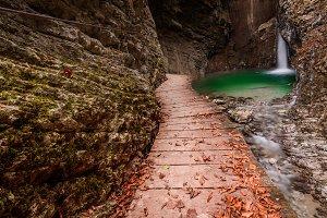 Waterfall Kozjak in autumn time