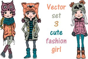 Vector set fashion girls