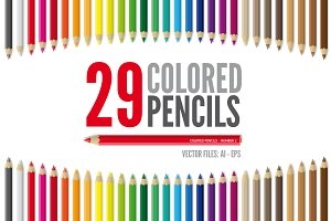 29 Vector Colored Pencils