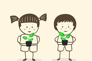 Girl and boy holding plants