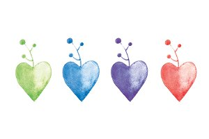 Watercolor hearts- plants