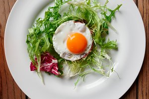 Beef tartar with fried egg