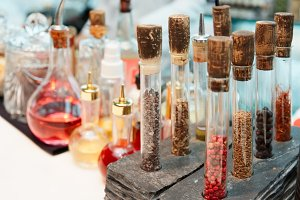 Spices and bitters on bar counter