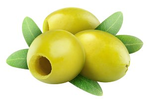 Pitted green olives with leaves