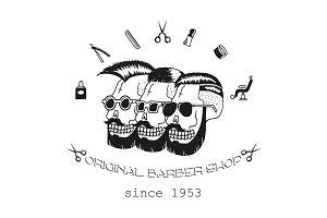 Original Barber shop. Doodle set.