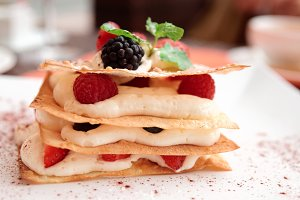 Mille-feuille cake with raspberries