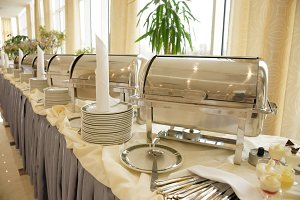 Table with dishware and food
