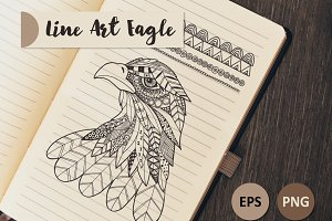 Line art Eagle set