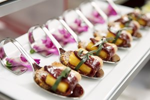 Canapes with cured ham