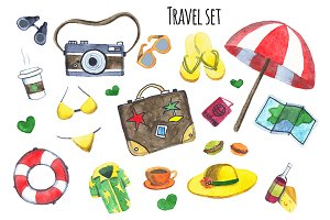 Watercolor set. It's time to travel.