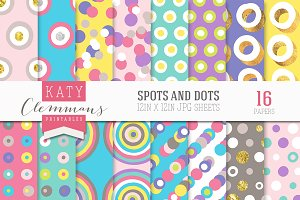 Spots and Dots seamless patterns
