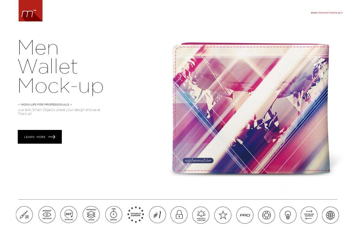 Men Wallet Mock Up Product Mockups Creative Market Circuit Board Money Clip Geek Chic Guys Pinterest