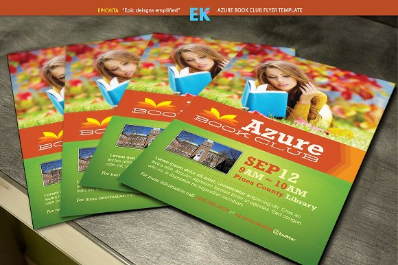 azure book club flyer template flyer templates creative market