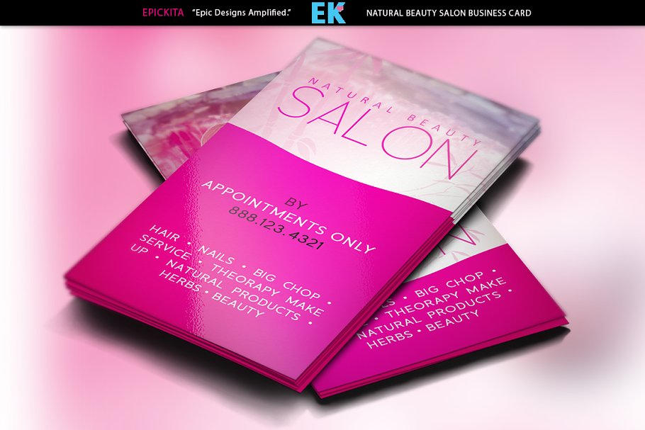 Natural Beauty Salon Business Cards