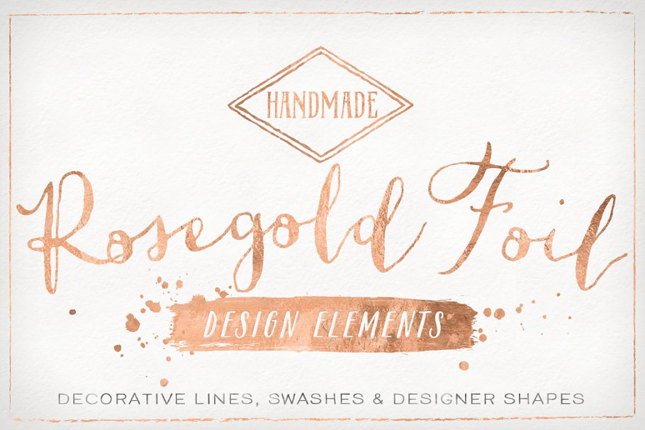 Rose Gold Foil Design Elements ~ Graphic Objects ~ Creative