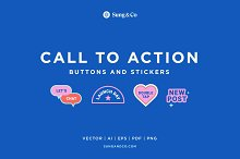 Call to Action Buttons and Stickers by  in Graphics
