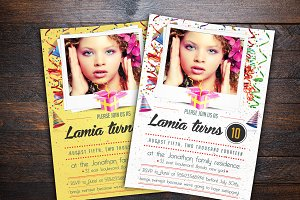 Confetti Birthday Invitation Cards