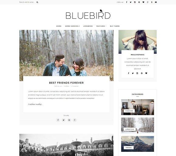 bluebird wordpress blog theme wordpress blog themes creative