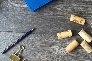 Le Bleu: Journal, Pen & Corks Mockup