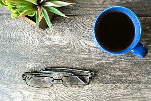 Le Bleu: Glasses & Coffee Mockup