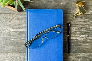 Le Bleu: Journal & Glasses Mockup