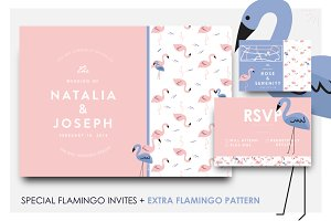 Beautiful flamingo wedding invites