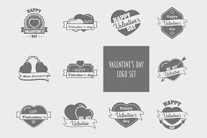 10 valentine's day logo set